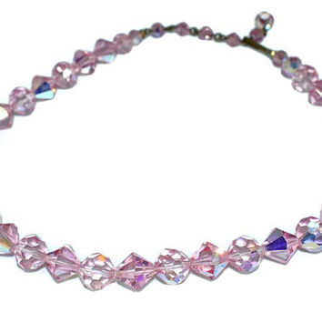 Vintage Pink AB Crystal Choker Necklace Iridescent Faceted Beads