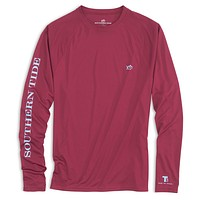 Tide to Trail Long Sleeve Performance T-Shirt in Black Cherry by Southern Tide
