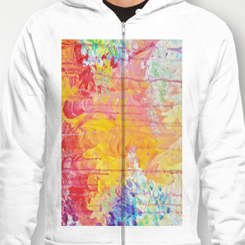 SUN SHOWERS - Beautiful Pastel Coloful Rain Clouds Bright Sky Abstract Acrylic Painting Hoody by EbiEmporium | Society6