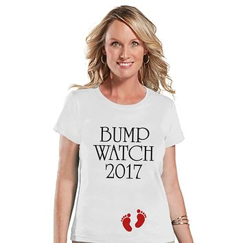 New Years Pregnancy Shirt - Bump Watch 2017 Shirt - New Years Tee - White T Shirt - White Tee - New Baby Reveal - Pregnancy Announcement