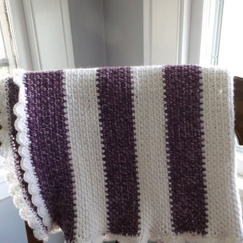 Crochet Baby Blanket Girl purple white striped