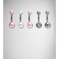 14 Gauge Pink, Silver, and Gem Banana Belly Button Ring 5-Pack