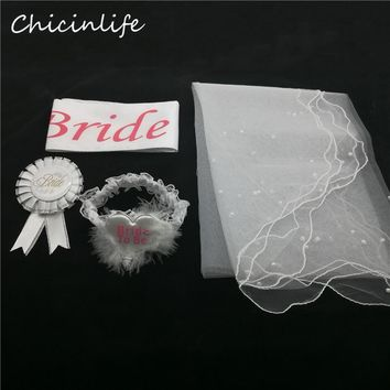 Chicinife 4pcs/lot Bride to be Sash Garter Veil Badge Bachelorette