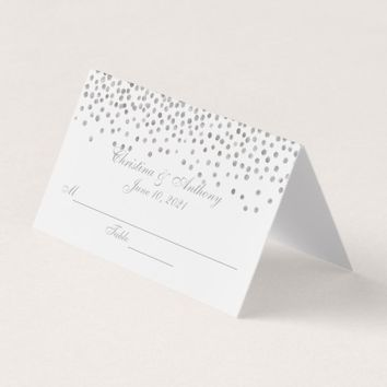 Silver Confetti Dots Wedding Reception Place Card