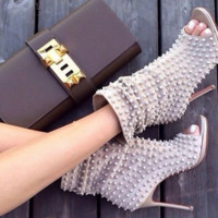Toya Spike Nude Open Toe Booties