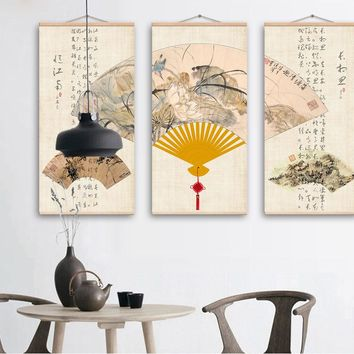 Paper Fan Chinese Style Wall Art Painting No Framed  Canvas Picture Printing Picture Living Room Home Decorative
