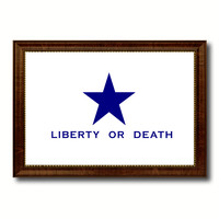 Liberty or Death Flag Goliad Texas Battle Independence Military Flag Canvas Print with Brown Picture Frame Home Decor Wall Art Gift Ideas