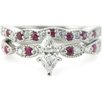 14k White Gold 3/4ct TDW Marquise-cut Diamond and Ruby Milgrain Weave Bridal Ring Set (G-H, SI1-SI2) | Overstock.com Shopping - The Best Deals on Bridal Sets