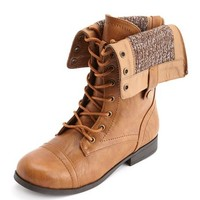 Sweater Lined Combat Bootie: Charlotte Russe