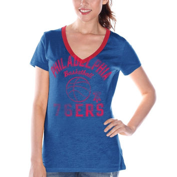 Philadelphia 76ers Women's Hardwood Classics Back Court Logo V-Neck T-Shirt – Royal Blue