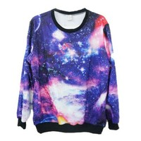 Loose Fit Cotton Blended T-shirt with Galaxy Print