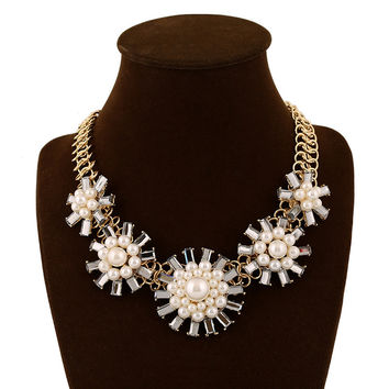 Stylish Shiny New Arrival Jewelry Gift Ladies Pearls Crystal Floral Fashion Costume Accessory Necklace [6056665985]