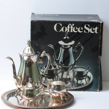 Leonard Silver Plate Coffee Set 4 Pieces Unused Vintage