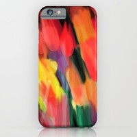 Meadow Flowers At Night Abstract iPhone & iPod Case by Jen Warmuth Art And Design