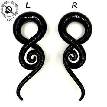 ac PEAPO2Q Pair Black Pyrex Glass Twist Spiral Ear Taper Stretcher Tunnel Plugs Expander Gauges Weights Hangers Body Piercing Jewelry