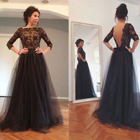Backless Tulle Evening Celebrity Dress 3/4 Sleeve A-line Formal Pageant Gown