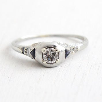 Antique 18K White Gold Diamond & Sapphire Ring - Vintage Art Deco 1920s Size 7 1/2 Filigree Engagement Wedding Fine Jewelry