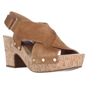 Franco Sarto Kicks Platform Studded Sandals - Chestnut