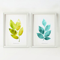 Wall decor, Digital prints, Green and teal Home decor Wall art set of 2 prints, Leaves art, Nature prints Bathroom decor, PRINTABLE wall art