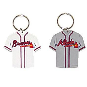 MLB official Jersey Thick Rubber Keychain Laser Cut 2 Sided baseball (Atlanta Braves)