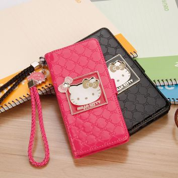 Fashion Women For Samsung Galaxy Note 8 Phone Case Luxury Wallet hello kitty Magnetic Flip PU Leather Cover for Note 8 Case