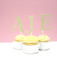 Custom Initial Letter Gold Glitter Cupcake Toppers - For Birthday, Baby Shower, Theme Birthday (Set of 12)