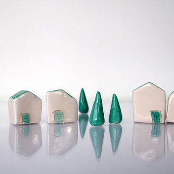 Little Clay Houses Abstract Architectural Sculpture, Miniature Ceramics farm, White Glazed Ceramics For Desk or Shelf -  Miniature Village