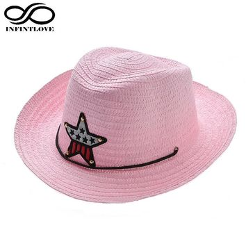 Summer Child Kid Little Boys Girls Sun Straw Cowboy Western Sheriff Hat Beach Cap (One Size :52cm)