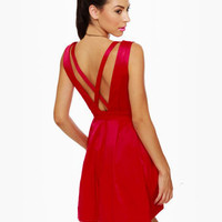 Lovely Sleeveless Dress - Red Dress - Party Dress - $74.00