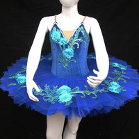 Ballet Tutu - Beautiful blue Flowers Children's Performance Ballet Tutu