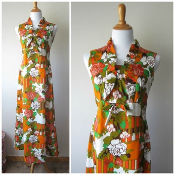 70s Psychedelic Floral Print Empire Waist Ruffled Bust Dress // Earth Tones & Rust Orange// Hawaiian Kahili Fashions