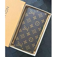 LV Fashion Hot Handbags Long Zipper Wallet for Men and Women LV pattern coffee