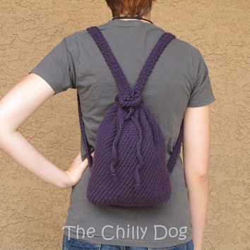 Boho Crochet Backpack Purse - Purple, Plum