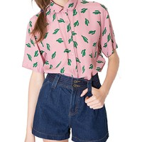 haoduoyi Womens Sweet Preppy Style Cactus Printed Dollar Collar T-shirt (X-Small)