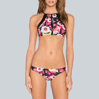 High Neck Bikini Floral Bathing Suit Zipper Swimsuit Print Swimwear