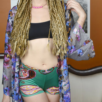 Bohemian Silk Boyshorts - Awaken in al Dahkla Jade Green Print - Soft 100% Silk Jersey Lingerie / Hot Yoga Shorts / Pajamas / Activewear