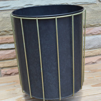 Mid Century Modern Trash Can Black with Gold Metal Vertical Lines and Legs , Black Round Mid Century Modern Trashcan with Gold Accent