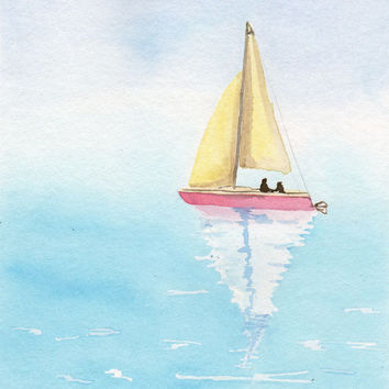 Shop Watercolor Paintings Of Boats On Wanelo