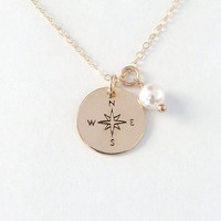 Compass Necklace Graduation Gift Gift box with Card Rose Gold Compass Necklace Gold Compass Necklace Silver Compass