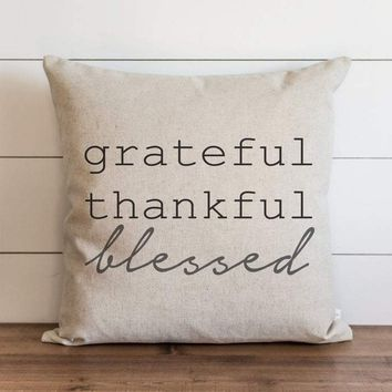 Fall Pillow Cover // Grateful Thankful Blessed