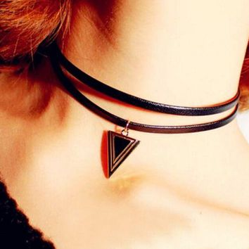 ONETOW Double necklace necklace punk triangle necklace
