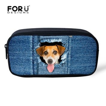 FORUDESIGNS Blue 3D Denim Dog Cat Children School Pencil Case Pen Box For Student Pouch Pencil Case Women Make Up Cosmetic Cases