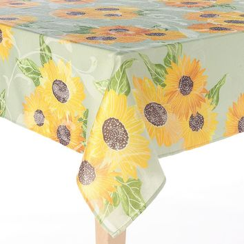 Harvest Sunflower Tablecloth - 60'' x 84'' Oval
