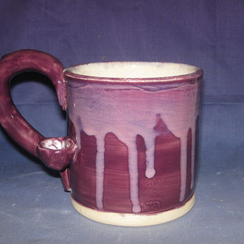 Wake and Bake Mug in Purple with pink edging  mug pipe Puffin Mug