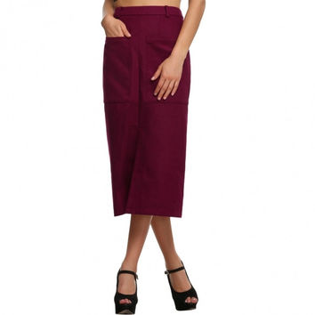 Women Sexy Lady Wool Blend Solid Casual Party Maxi Long Skirt