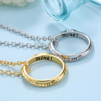 Fashion circle pendants pattern necklace letter engraved chain jewelry crave necklace jewelry for friends Couples Necklaces