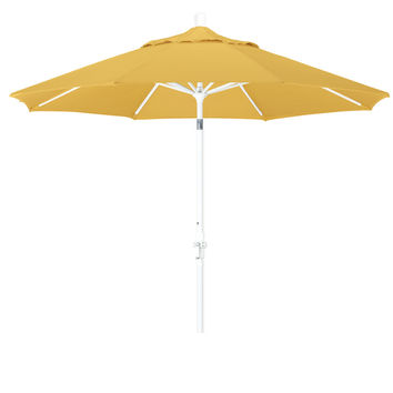 9 Foot Sunbrella 1A Fabric Aluminum Crank Lift Collar Tilt Patio Umbrella with White Pole