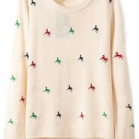 Nice Embroidered Horse Pattern Sweater - OASAP.com