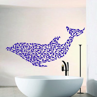 Wall Decals Vinyl Decal Dolphin Made of Little Dolphins Sea Animals Bathroom Home Vinyl Decal Sticker Kids Nursery Baby Room Decor kk12