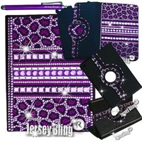 PURPLE Leopard Jersey Bling® Ipad Air Case with Crystals, Rhinestones Faux Leather Folio with 360 Rotating Case w/FREE Stylus & XTRA BLING!